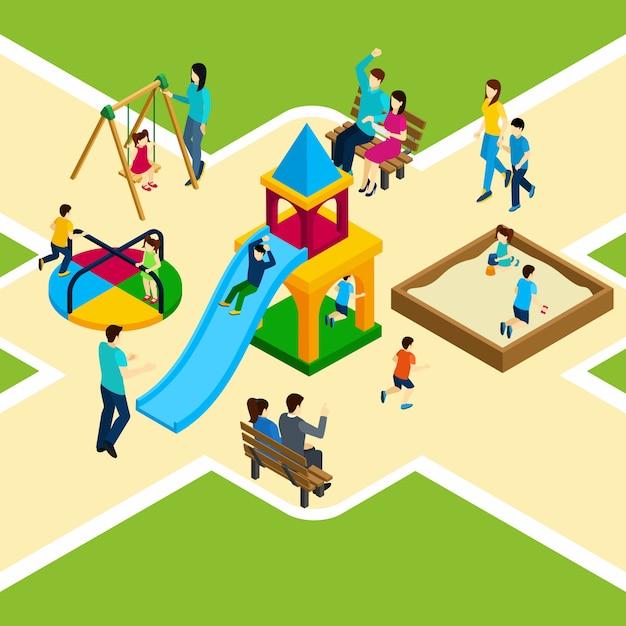 Isometrische kinder spielplatz Kostenlosen Vektoren