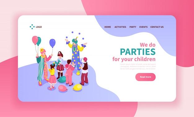 Isometrische kinderanimatorfarbwebsite-seitendesignzusammensetzung mit anklickbaren knopflinks und s von entertainern Kostenlosen Vektoren