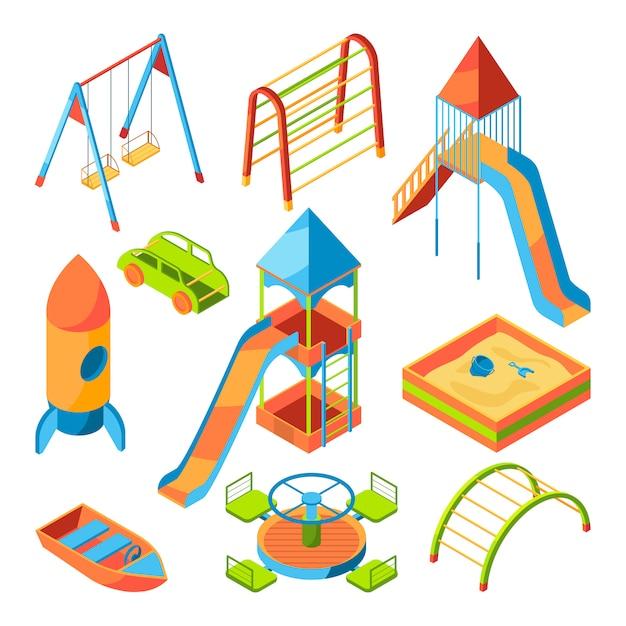 Isometrische kinderspielplatz mit verschiedenen spielsachen Premium Vektoren