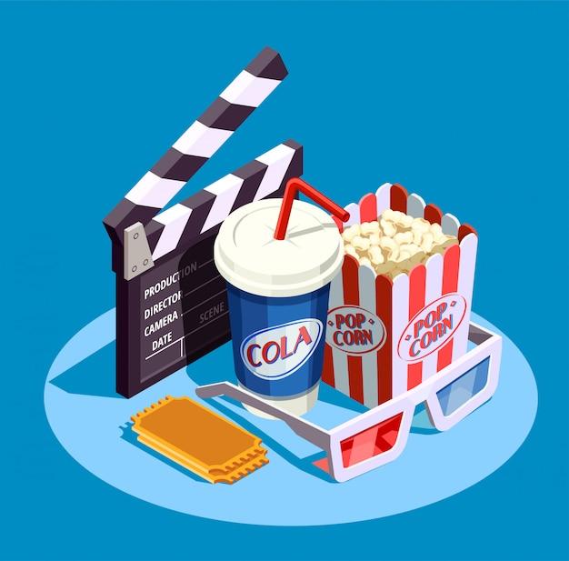Isometrische kino-icon-set Kostenlosen Vektoren
