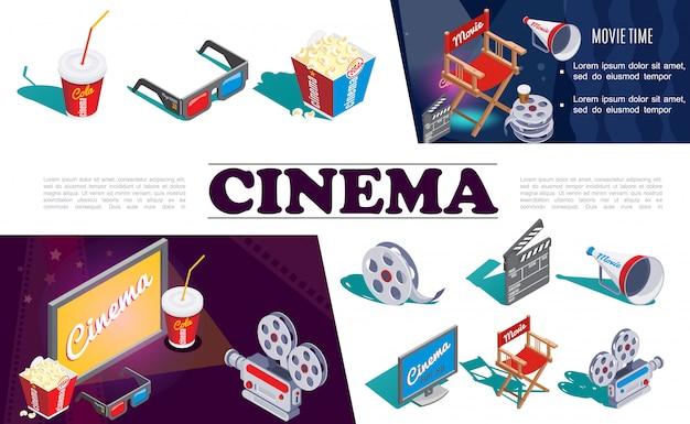Isometrische kinoelemente zusammensetzung mit kamera 3d-brille popcorn soda filmrolle regisseur stuhl megaphon klappe bildschirm Kostenlosen Vektoren