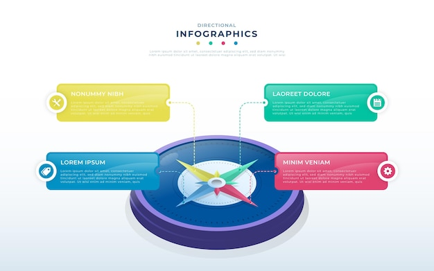 Isometrische kompassinfografiken Kostenlosen Vektoren