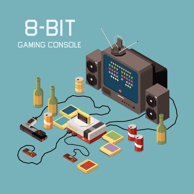 Isometrische komposition von gaming-spielern mit bildern von vintage-konsolengeräten und getränkeflaschen Kostenlosen Vektoren