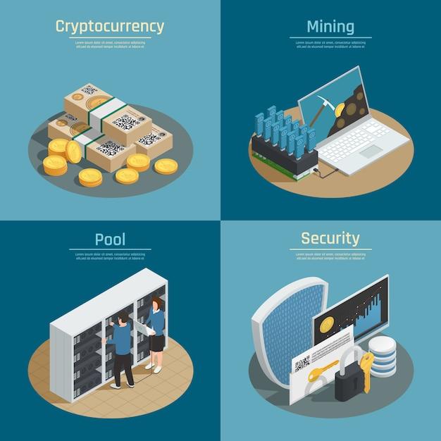 Isometrische kompositionen mit bergbau von kryptowährung, münzen und banknoten, pool von systembenutzern, isolierte sicherheit Kostenlosen Vektoren
