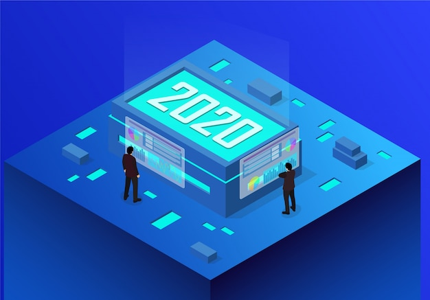 Isometrische konzept business new year 2020 Premium Vektoren