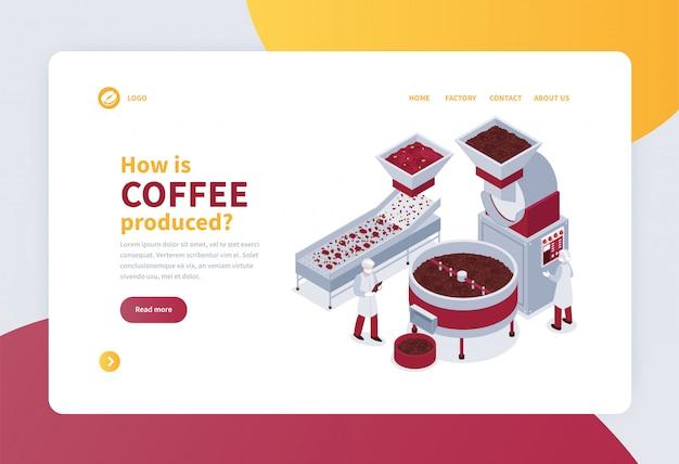 Isometrische konzeptfahne mit kaffeeproduktionsverfahren 3d Kostenlosen Vektoren