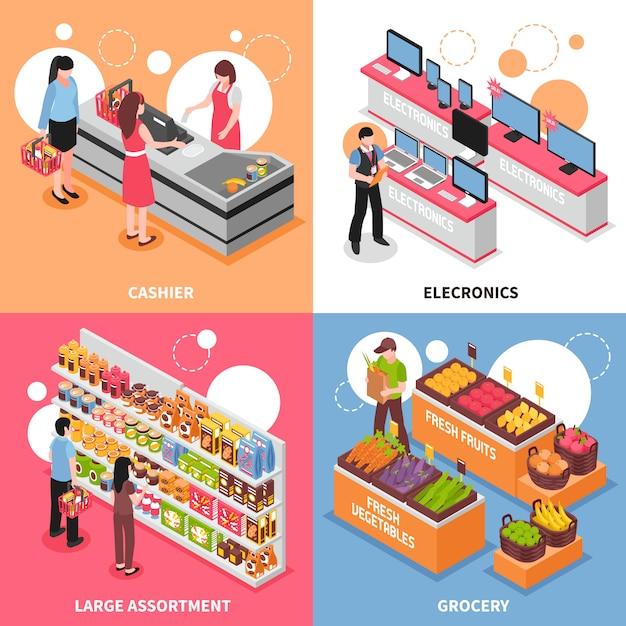 Isometrische konzeptikonen des supermarktes eingestellt Kostenlosen Vektoren