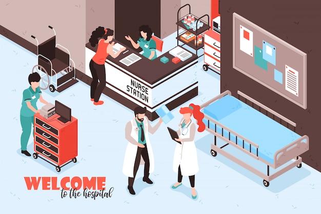 Isometrische krankenhauszusammensetzung mit text und ansicht des empfangsschalters der schwesternstation mit personen- und möbelvektorillustration Kostenlosen Vektoren