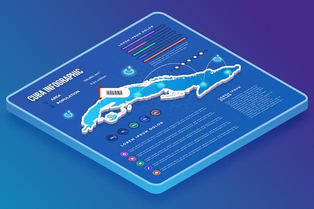 Isometrische kuba-karte infografik Premium Vektoren