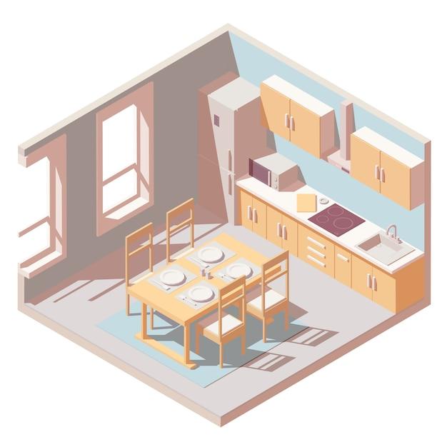 Isometrische küche zimmer Premium Vektoren