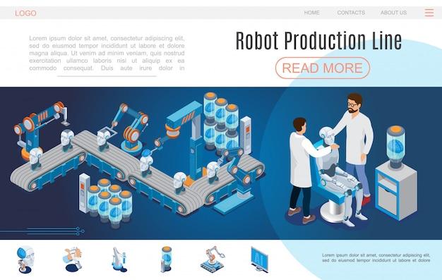 Isometrische künstliche intelligenz website-vorlage mit roboter produktionslinien cyborg erstellung roboter kopf arme digitalen gehirnmonitor Kostenlosen Vektoren
