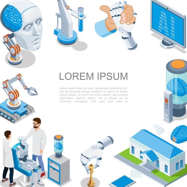 Isometrische künstliche intelligenz zusammensetzung mit digitalen gehirn roboterarme smart home industrieroboter cyborg kopf monitor wissenschaftler Premium Vektoren