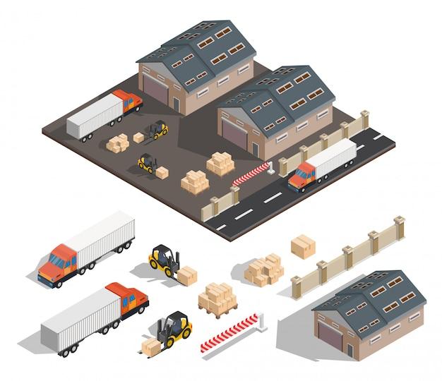 Isometrische lageraußenillustration. Premium Vektoren