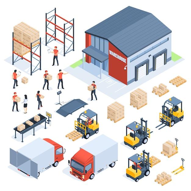 Isometrische lagerlogistik. güterverkehrsindustrie, großhandelsvertriebslogistik und verteilter isometrischer satz der paletten 3d Premium Vektoren