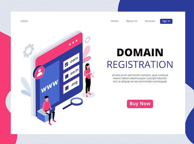 Isometrische landing page der domainregistrierung Premium Vektoren