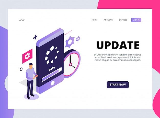 Isometrische landing page of update Premium Vektoren