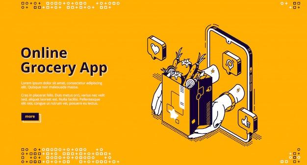Isometrische landingpage der online-lebensmittel-app, Kostenlosen Vektoren