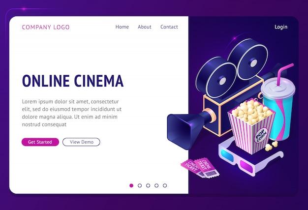 Isometrische landingpage des online-kinos, internet-app Kostenlosen Vektoren