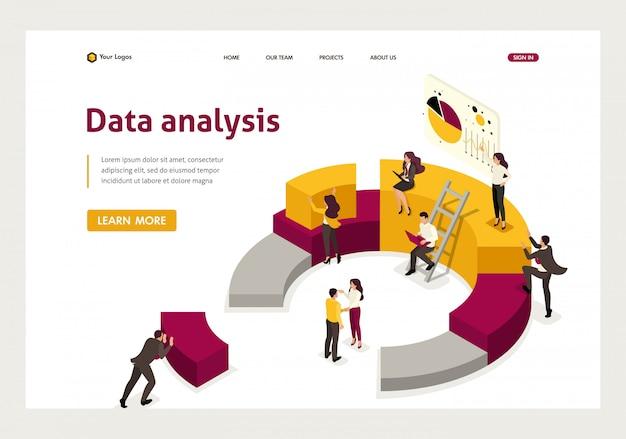 Isometrische landingpage des sammelns und analysierens von daten, leute sammeln ein diagramm. Premium Vektoren