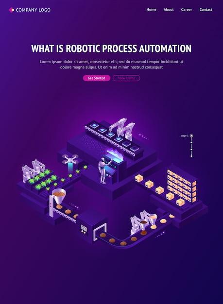 Isometrische landingpage für automatisierungstechnologien Kostenlosen Vektoren