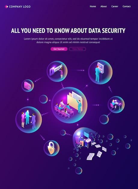 Isometrische landingpage für cyber-datensicherheit, banner Kostenlosen Vektoren