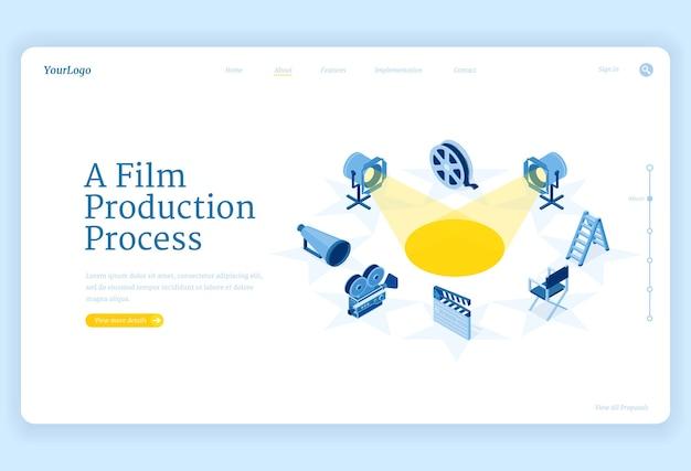 Isometrische landingpage für die filmproduktion, filmherstellungsprozess und kamera, scheinwerfer Kostenlosen Vektoren