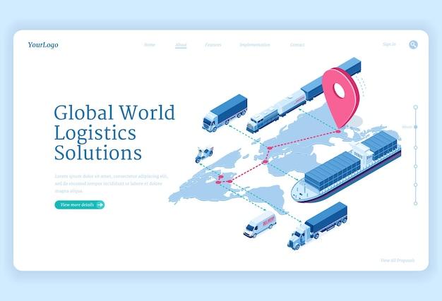 Isometrische landingpage für globale logistiklösungen Kostenlosen Vektoren