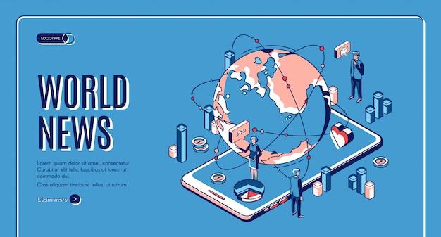 Isometrische landingpage für weltnachrichten. erdkugel liegt auf riesigem smartphone-bildschirm mit fernsehmoderatoren, die im fernsehen senden. weltweites mediengeschäft Kostenlosen Vektoren