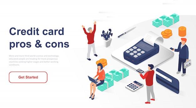 Isometrische landingpage geldautomat oder kreditkarte Premium Vektoren