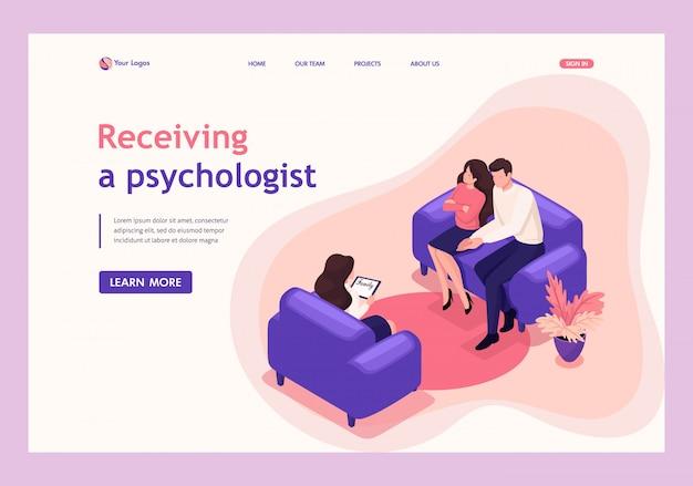 Isometrische landingpage von ehepartnern an der rezeption des psychologen, konflikt in der familie. Premium Vektoren