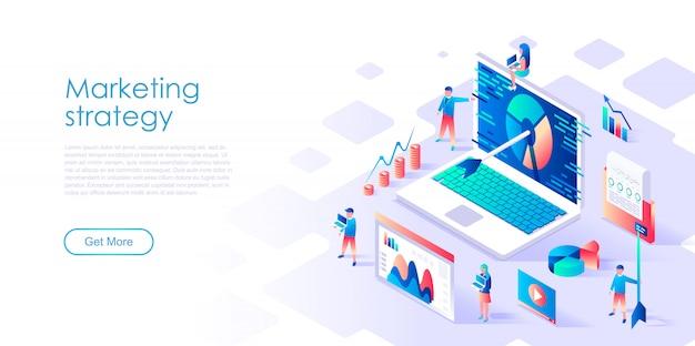 Isometrische landingpage-vorlage digital marketing Premium Vektoren