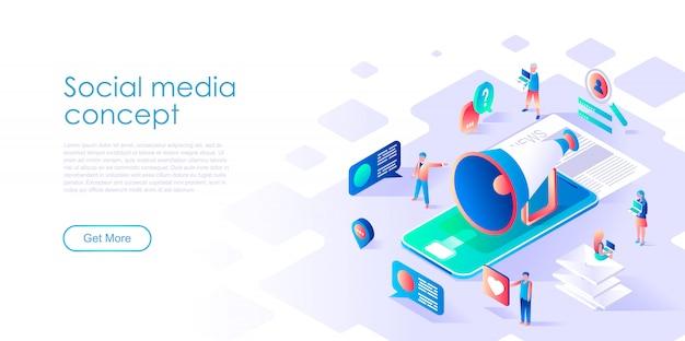 Isometrische landingpage-vorlage social media Premium Vektoren
