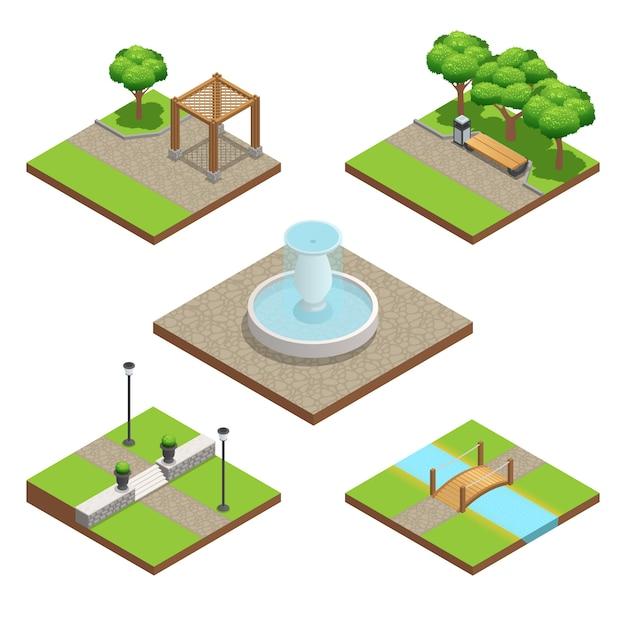 Isometrische landschaftsgestaltung mit pflanzen-, holz- und steindekorationselementen Kostenlosen Vektoren
