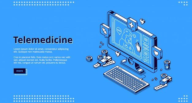 Isometrische landung in der telemedizin, online-medizin Kostenlosen Vektoren
