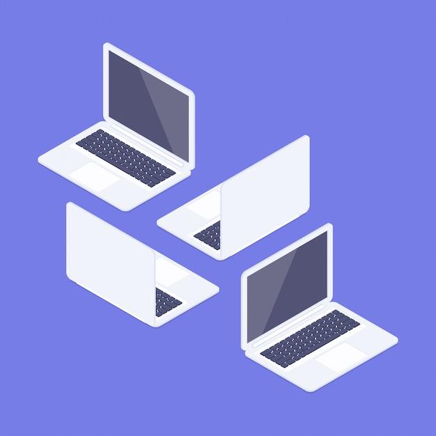 Isometrische laptops bereit zu arbeiten. vorder- und rückansicht. isometrische notizbücher eingestellt. computergeräte isoliert auf einem weißen hintergrund. 3d realistische geräte. Premium Vektoren