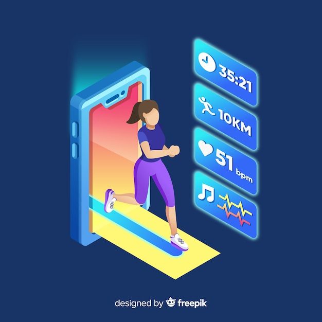 Isometrische laufende mobile app infografik Kostenlosen Vektoren