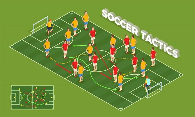 Isometrische leutezusammensetzung des fußballfußballs mit begriffsbild von spielplatz- und fußballspielern mit bunter pfeilillustration Kostenlosen Vektoren