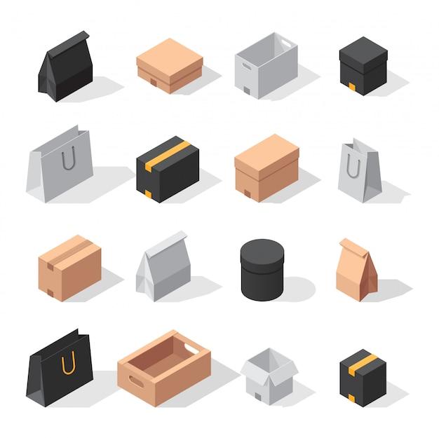 Isometrische lieferung box sammlung Premium Vektoren