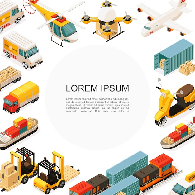 Isometrische logistik- und transportschablone mit hubschrauberdrohne flugzeugschiff roller lkw auto gabelstapler container boxen Kostenlosen Vektoren