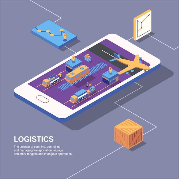 Isometrische logistiklieferzusammensetzung mit telefonbildgraphenikonen der transport- und paketboxen mit textvektorillustration Kostenlosen Vektoren