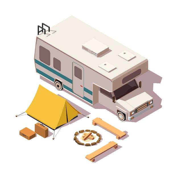Isometrische low-poly-reisemobil und campingausrüstung Premium Vektoren