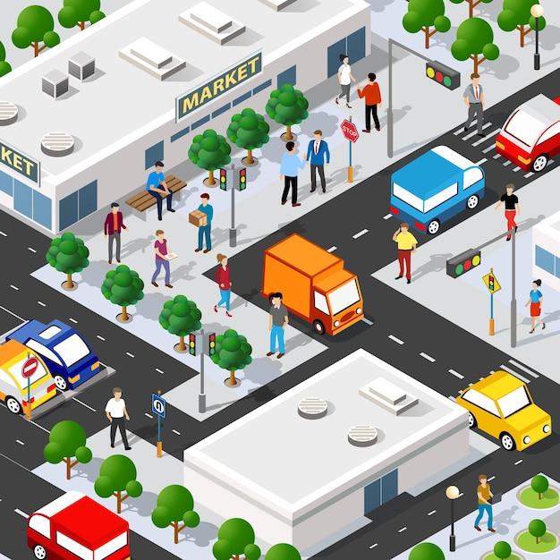 Isometrische mall supermarkt shop 3d-illustration Premium Vektoren