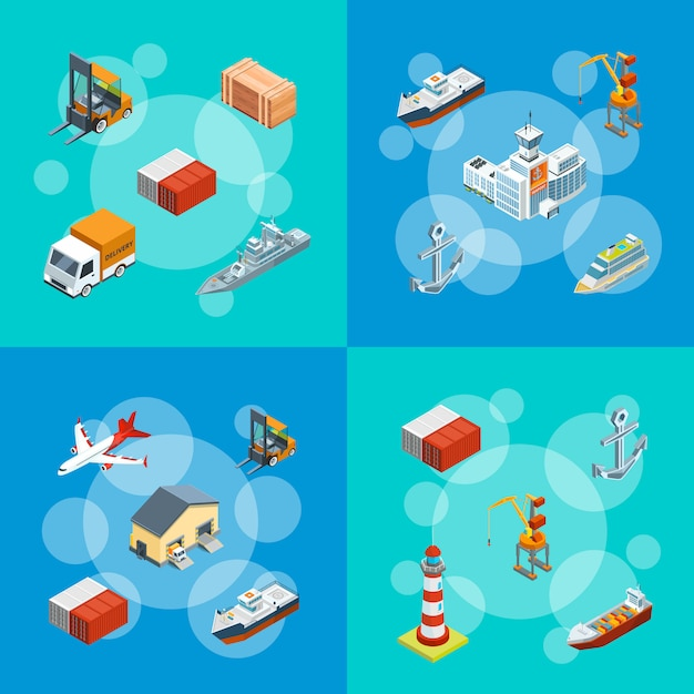Isometrische marine logistik und seehafen set abbildung Premium Vektoren