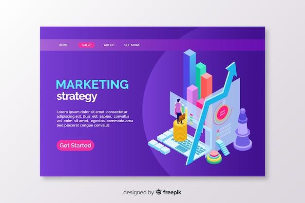 Isometrische marketing-landingpage-vorlage Kostenlosen Vektoren