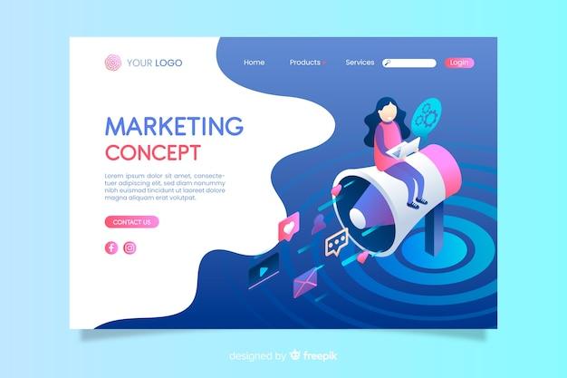 Isometrische marketingkonzept-landingpage Kostenlosen Vektoren