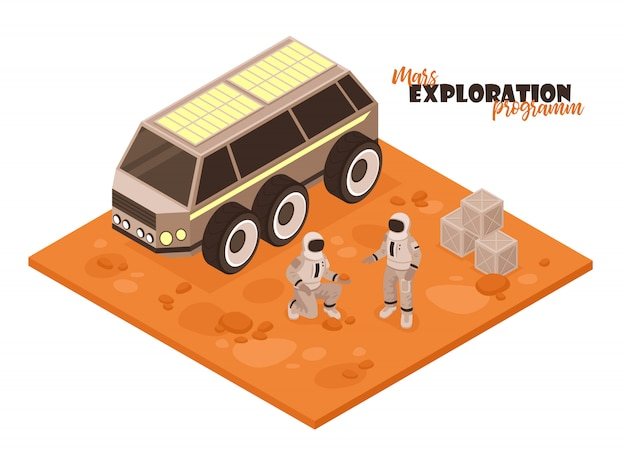 Isometrische mars-kolonisationszusammensetzung auf weißem hintergrund mit stück geländewagen und astronautencharakteren Kostenlosen Vektoren