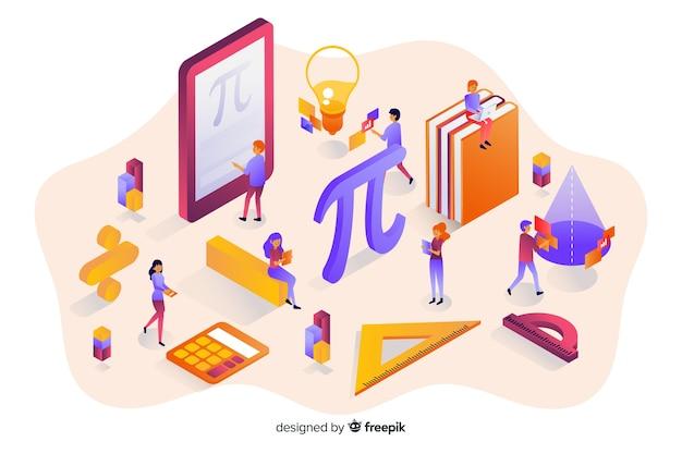 Isometrische mathe elemente hintergrund Kostenlosen Vektoren