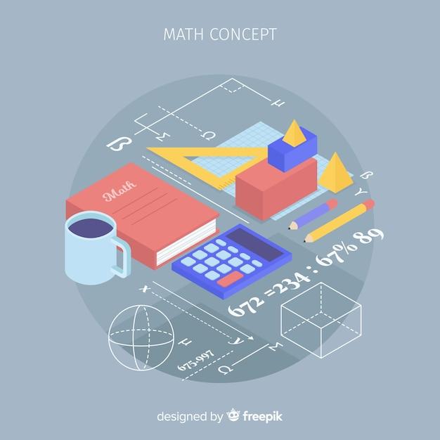 Isometrische mathe-konzept hintergrund Kostenlosen Vektoren