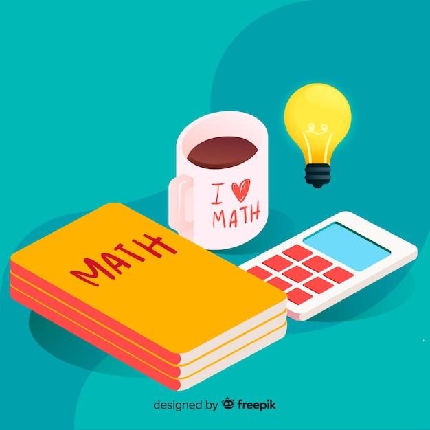 Isometrische matheelementhintergrund Kostenlosen Vektoren