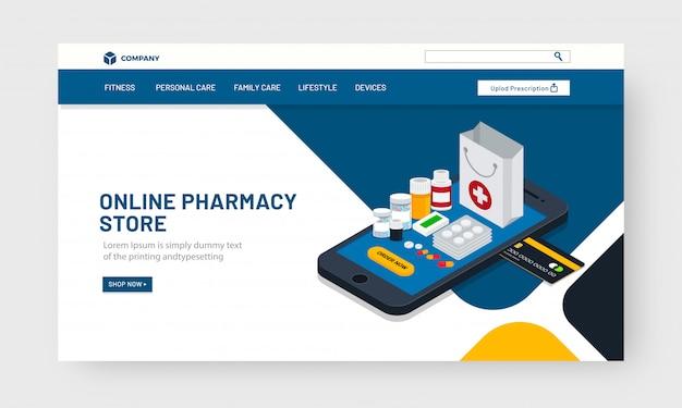 Isometrische medizin auf smartphone Premium Vektoren